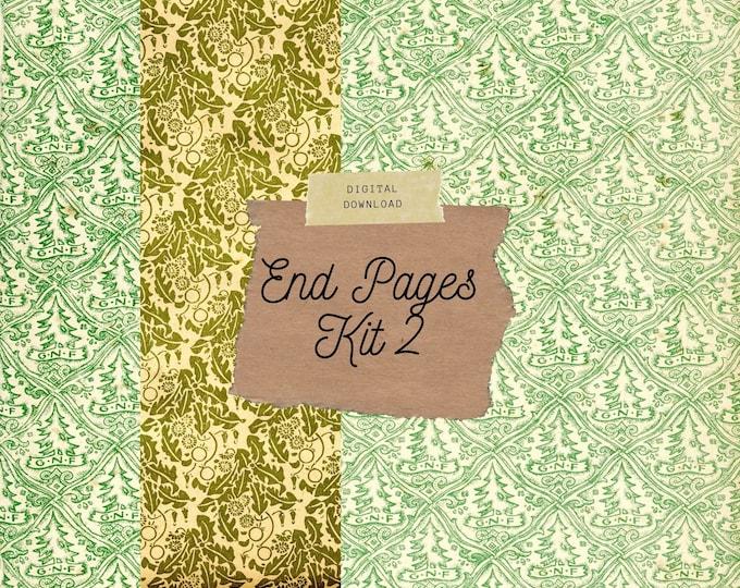 Vintage End Papers | Leaf Patterns, Junk Journal Kit, Digital Print
