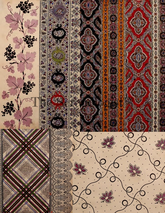photo about Printable Textiles referred to as French Textiles Pattern E-book, Printable, Magazine Package