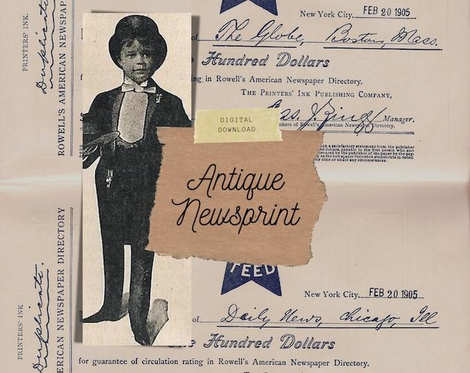 Antique Newsprint, Junk Journal Kit | Digital print