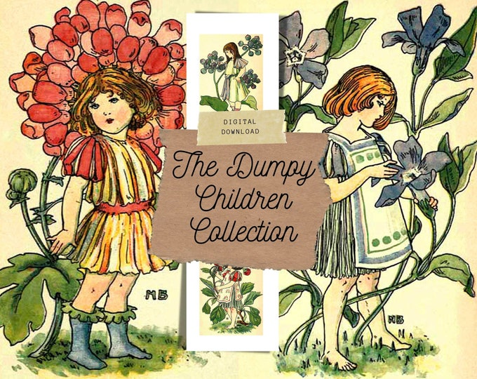 Vintage Flowers and Children, Junk Journal Kit | Digital Print