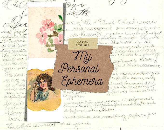 Vintage Ephemera Pack, My Personal Collection, Junk Journal Kit, Digital Download