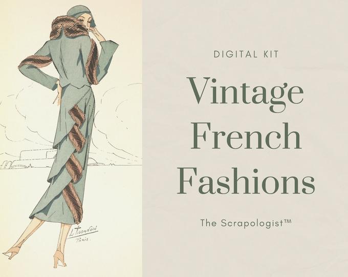 Vintage French Fashions, Textile Importer's Catalog | Junk Journal Kit, Digital Print