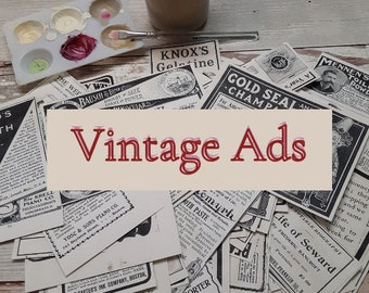 Vintage Advertising, Junk Journal Ephemera, Collage Kit, printed on cardstock and mailed to you