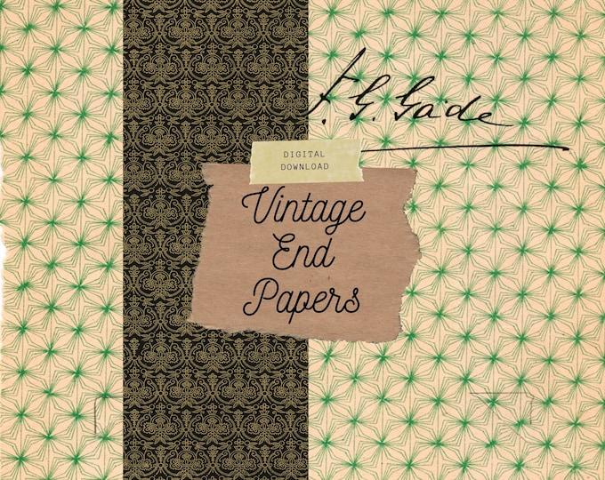 Vintage End Papers, Kit 1, Junk Journal Pages, Digital Download