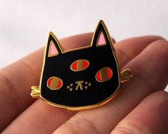 Halloween three eyed cat enamel pin