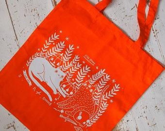 Orange Halloween cats tote bag