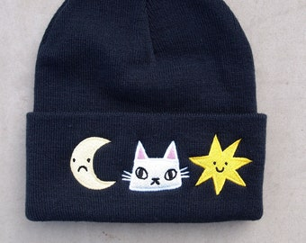 Navy Cat, moon and stars embroidered beanie hat