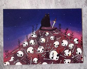 Spooky cat and skulls A5 art print