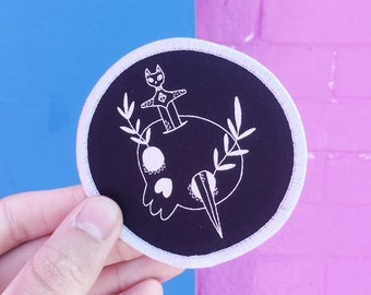 Sew-on patch - Cat Dagger - I like cats - Skull - Skull patch - screenprinted patch - sew on patch - patches - embroidered patch - black