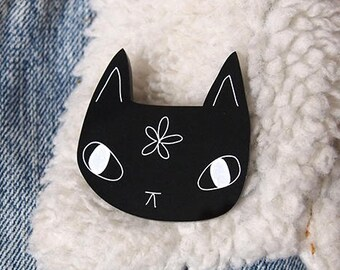 Black Cat Brooch - Cat Brooch - Laser cut cat brooch - I like cats - Black Cat - Black cat flower - Acrylic jewellery - Acrylic brooch - cat