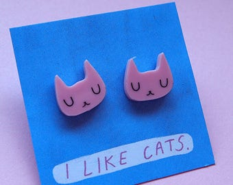 Pink Cat Face Stud Earrings - White Cat Earrings - Pink cats - Earrings - Acrylic earrings - Acrylic jewellery - laser cut jewellery - cat
