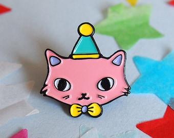 Pink Party Cat enamel lapel pin - Cat pin - Enamel pin - Enamel cat pin - I like cats - Cat lapel pin - Cat jewellery - Cat gifts - Cats