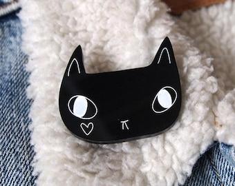 Black Cat with Heart Brooch - Black Cat Brooch - Black Cat - Cat Brooch - I like Cats - Cats - Acrylic Jewellery - Laser cut jewellery - cat