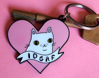 Enamel IDGAF Cat Keyring - I like cats - Keyring - Cat kering - Enamel keyring - Cats - Cat gift - Keychain - Cat illustration - e