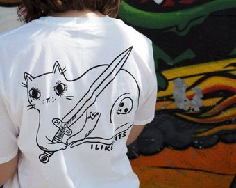 Cat and Sword Tee - Back print - Cat t shirt - Cat shirt - Sword - Tattoo - Skull - Screen printed t shirt - Cat lover gift - White tee, cat