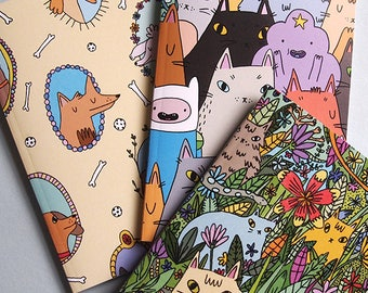 Set of 3 notebooks - Cat notebooks - Dog notebook - I like cats - cat gifts - cats - cat notebook - cat illustration - cat book - notebook
