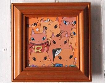 Weasley Cats Square Print - Harry Potter fan art - I like Cats -Harry Potter - Ron Weasley - Cats - Wall art - Harry Potter cat - Fan art