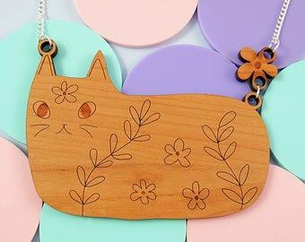 Wooden cat necklace - cat jewelry, laser cut wood, cat jewelry, cat, pet jewelry, cat necklace, laser cut, laser cut cat, cat lover gift,