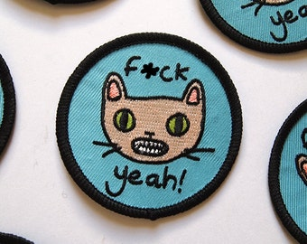 F--ck Yeah Cat embroidered patch - Iron on patch - sew on patch - cat patch - cat iron on patch - I like cats - cat face - cat gift - cat