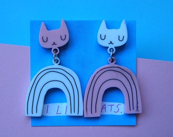 Pink and White Rainbow Cat Earrings - Cat earrings - Rainbow Earrings - White Cat - Acrylic jewellery - Laser cut jewellery - Cat jewellery