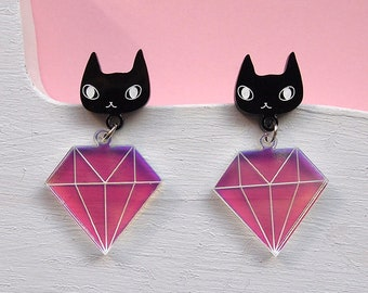 Cats and Diamonds Earrings - Black cat earrings - I like cats - Cat earrings - Diamonds - Acrylic jewellery - Laser cut - Swords - Statement