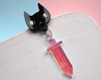 Cat and dagger brooch - Cat brooch - Cat lapel pin - Cat pin - Black cat - Black cat brooch - Dagger brooch - dangle brooch - brooch - cat
