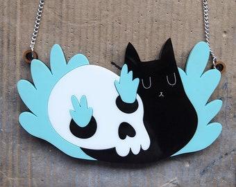 Black cat and skull necklace - Black cat necklace - Black cat - Cat necklace - I like cats - laser cut necklace - acrylic jewellery - skull