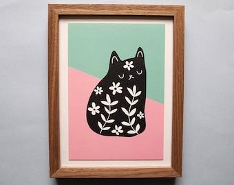 A5 Black Floral Cat print - Cat art print - Monochrome - Cat - I like Cats - Cat illustration - Cat art - Cat print - Cats - Cat gift - art