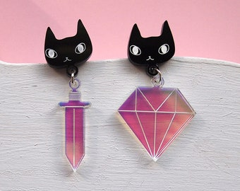 Mismatched Cats and Diamonds Earrings - Black cat earrings - I like cats - Cat earrings - Diamonds - Acrylic jewellery - Laser cut - Swords