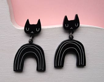 Black Rainbow Cat Earrings - Cat earrings - Rainbow Earrings - Black Cat - Acrylic jewellery - Laser cut jewellery - Cat jewellery - Cats