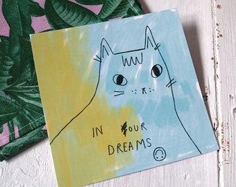 Square Cat Art Print - drawing - I like Cats - Cat art - Cat illustration - Print - Home decor - Wall Art -  Cats - Office art - Car gifts