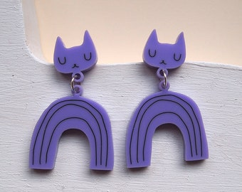 Lilac Rainbow Cat Earrings - Cat earrings - Rainbow Earrings - Cats - Acrylic jewellery - Laser cut jewellery - Cat jewellery - Cats - lilac