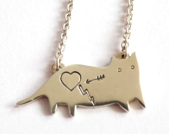 Sterling Silver Cat Necklace - I like cats - Sterling silver - Rock Cakes - Silver cat - Sterling silver cat - Cat necklace - Cats -