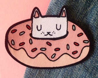 Donut cat woven patch - Iron on patch - sew on patch - cat patch - cat iron on patch - I like cats - donut patch - cat gift - cats
