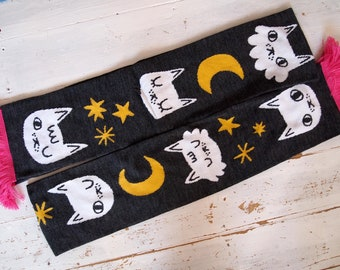 Cats, moon and stars knitted scarf
