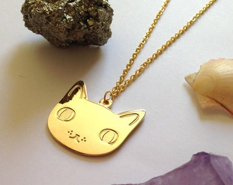 Cat Face Necklace - Cat Necklace - I like cats - Cat pendant - cat charm - Cat gifts - cat jewellery - gold cat jewellery - gold cat