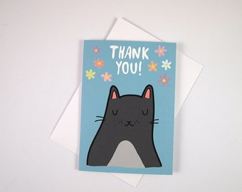 Cat thank you card -  Thank you Card - Cat  Card - I like Cats - Cats - cats greetings card - thank you card