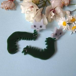 Caterpillars and cats dangle earrings