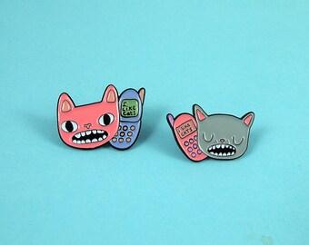 BFF cat pin set - I like Cats - Cat enamel pin - Cat lapel pin - lapel pin - enamel pin - sassy girl - Pin set - cell phone - cats