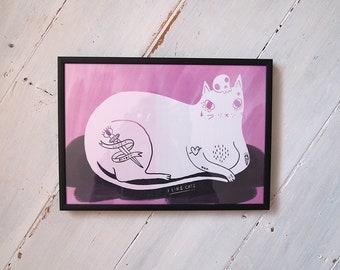Tattoo Cat A4 print - I like cats - Cat print - Cat art - Cat illustration - Tattoo - Cat Tattoo - Tattoo Cat - Home decor - Digital print