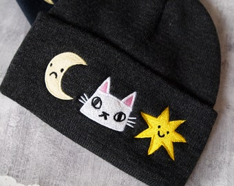Cat, moon and stars, grey embroidered beanie hat