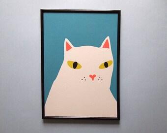 Grey Cat Print  - A4 art print - cat print - cat illustration - i like cats - Cat art - grey cat - blue cat - wall art - home decor
