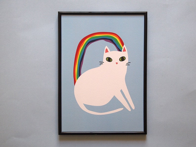 Rainbow cat A4 art print  image 0