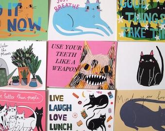 Ten motivational cat postcards