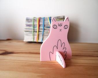 Pink cat desk ornament - Desk pet - Laser cut cat - Pink cat - Desk cat - Cat gifts - I like Cats - cat standee - ornament - laser cut