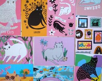 Ten illustrated cat postcards