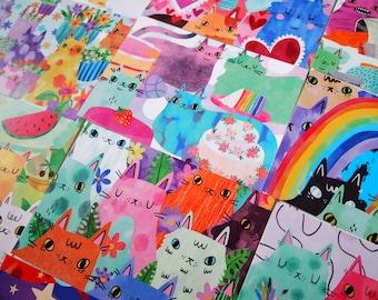 Set of 10 illustrated cat postcards