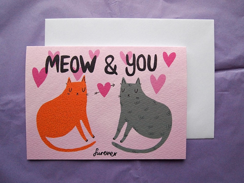 0ddd51935e16 Cat Valentines Card Meow and You I like Cats Valentines