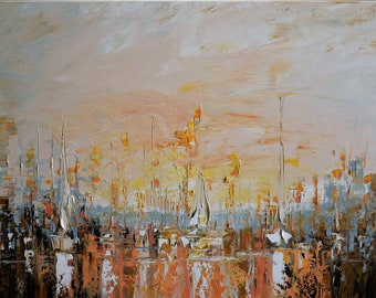 Sailboat Painting, ORIGINAL art, Oil Painting Seascape, Large Art, Abstract Art, Abstract Seascape, Sailboat Art Painting by Tatjana