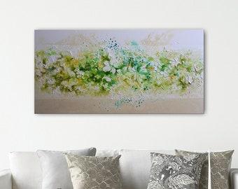 Floral Art Painting, by Tatjana Ruzin, Original Art, Abstract Painting Oil Painting Neutral Minimalist,Palette knife White Painting,Mom Gift